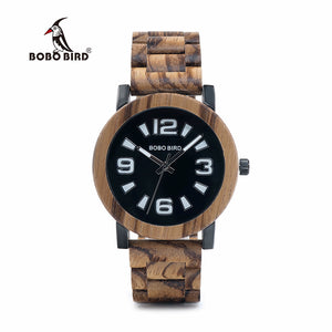 BOBO BIRD Wooden Metal Watches with Big Number Wood Band
