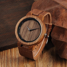 BOBO BIRD Zebra Wood Watch Grain Leather