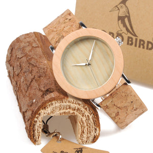 BOBO BIRD Wooden Metal Pine Wood Case Grain Leather Band
