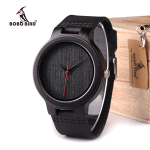 BOBO BIRD Ebony Wood Watch With Red Pointer