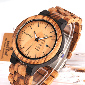 BOBO BIRD Wood Watch with Week Display