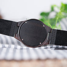 BOBO BIRD Ebony Wooden Watch with Soft Leather Band