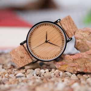 BOBO BIRD With Wood Watch Face and Cork Leather Strap