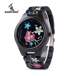 BOBO BIRD Print Wood Watch, Flower/Bird
