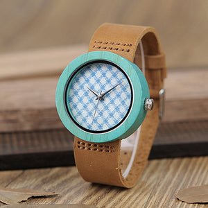 BOBO BIRD Wooden Bamboo Watch with Genuine Brown Leather