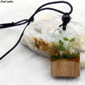 Handmade Wood Resin Necklace