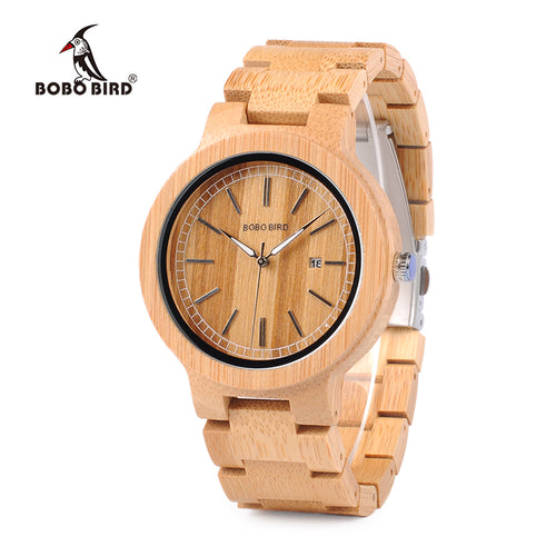 BOBO BIRD Simple Original Bamboo With Date Display
