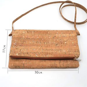 Natural cork with silver crossbody bag