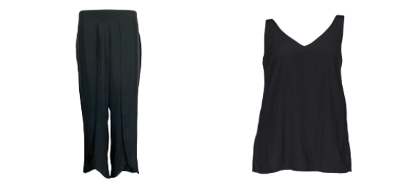 Image of the Maria technical split pants in black and the Rachel technical Cami in black