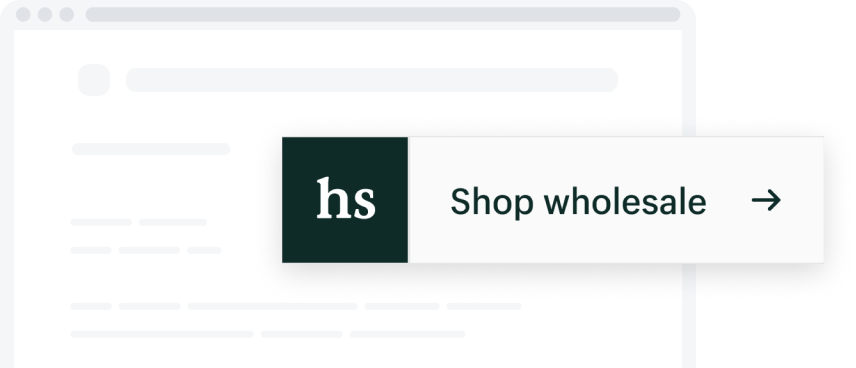 Preview of a button with Handshake logo and text inviting the user to Shop wholesale