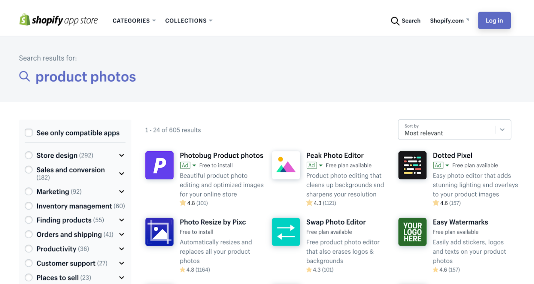 A search results page that shows ads in the Shopify App Store