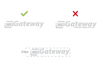 Suggested dimensions for a gateway logo