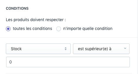 Configurer les conditions des collections