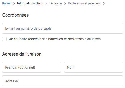 Shopify - champ de modification du passage à la caisse