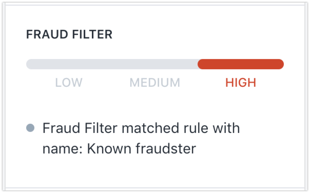 Orders page Fraud Filter notification