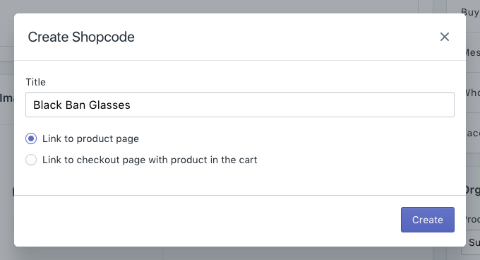 Create Shopcode modal on a product page