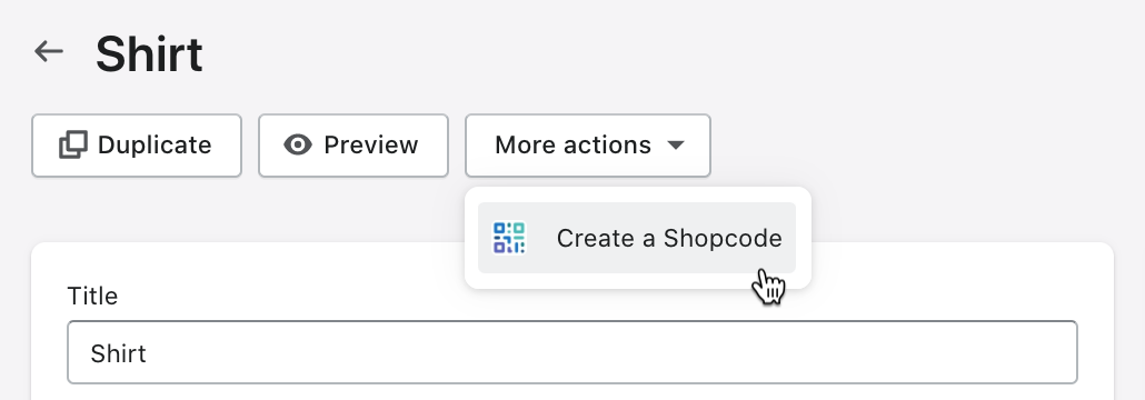 More actions drop-down list on a product page