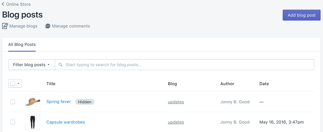 Add a blog post button on the Blog posts page
