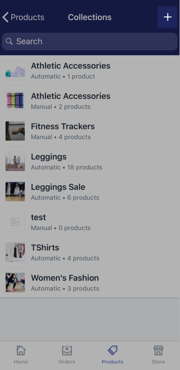 + button on the Collections screen — Shopify for iPhone