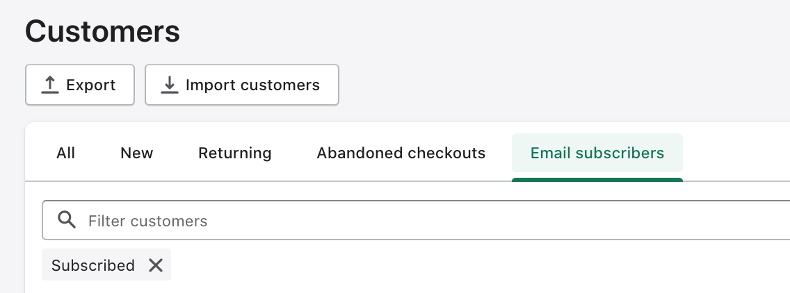 The Customers page in the admin. Different customer filters are shown on tabs, and the Email subscribers tab is highlighted.