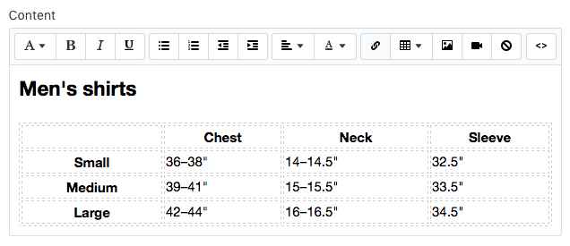 Customizing the size chart table