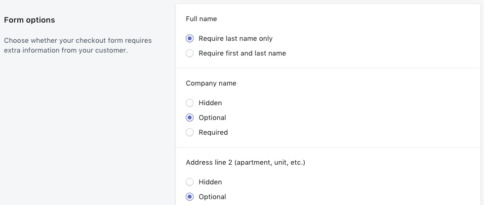 Shopify - checkout form field settings