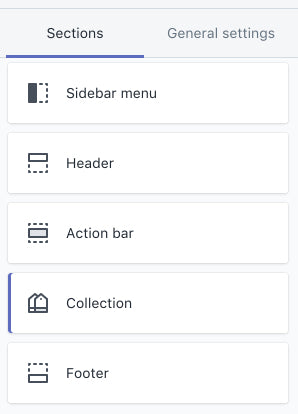 Collection pages tab in the storefront editor
