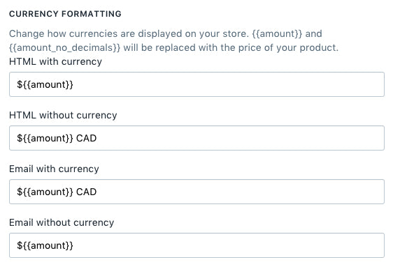 Edited currency settings