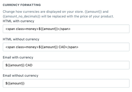 Default currency settings