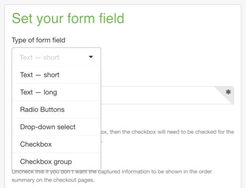 Types of form fields