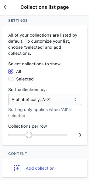 Collections list page settings