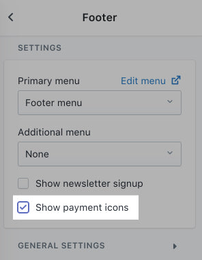 Show payment icons
