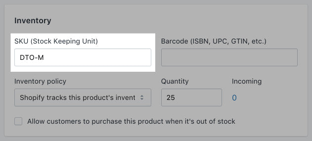SKU for products without variants