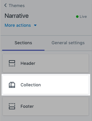 Collection pages tab