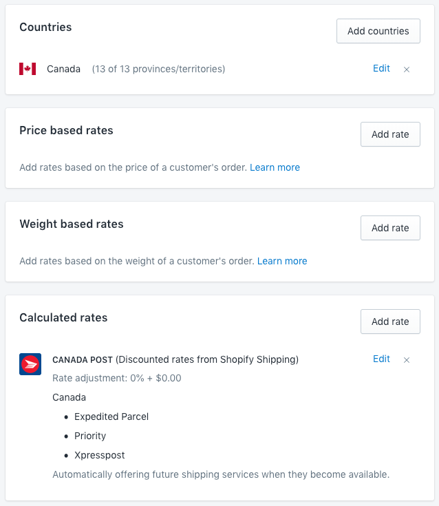Settings needed for Shopify Shipping in Canada