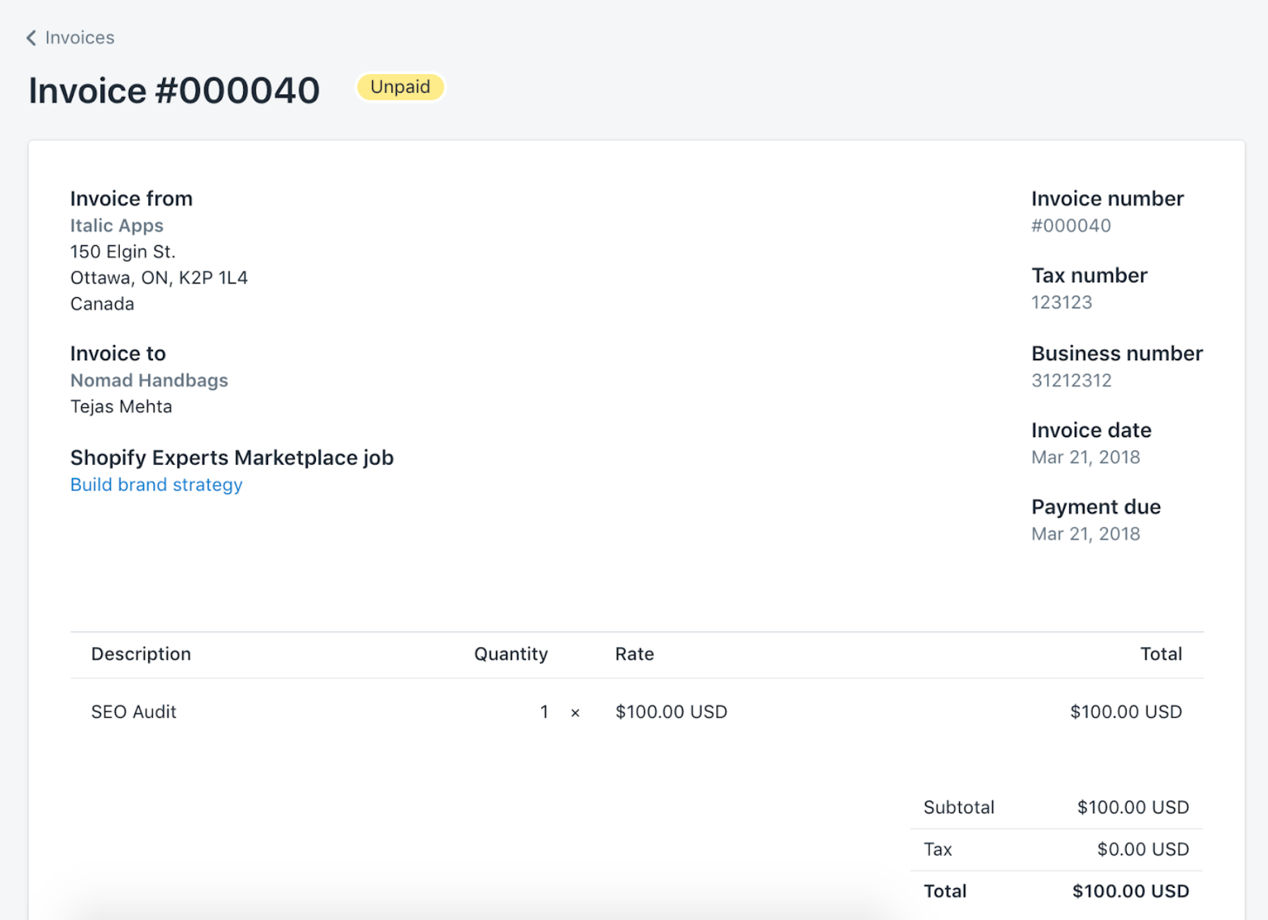 An unpaid invoice for $100 in the Shopify admin. The invoice is for an SEO audit.