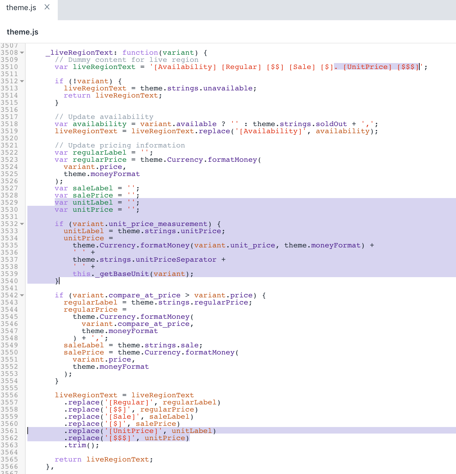 The updated version of the theme.js file