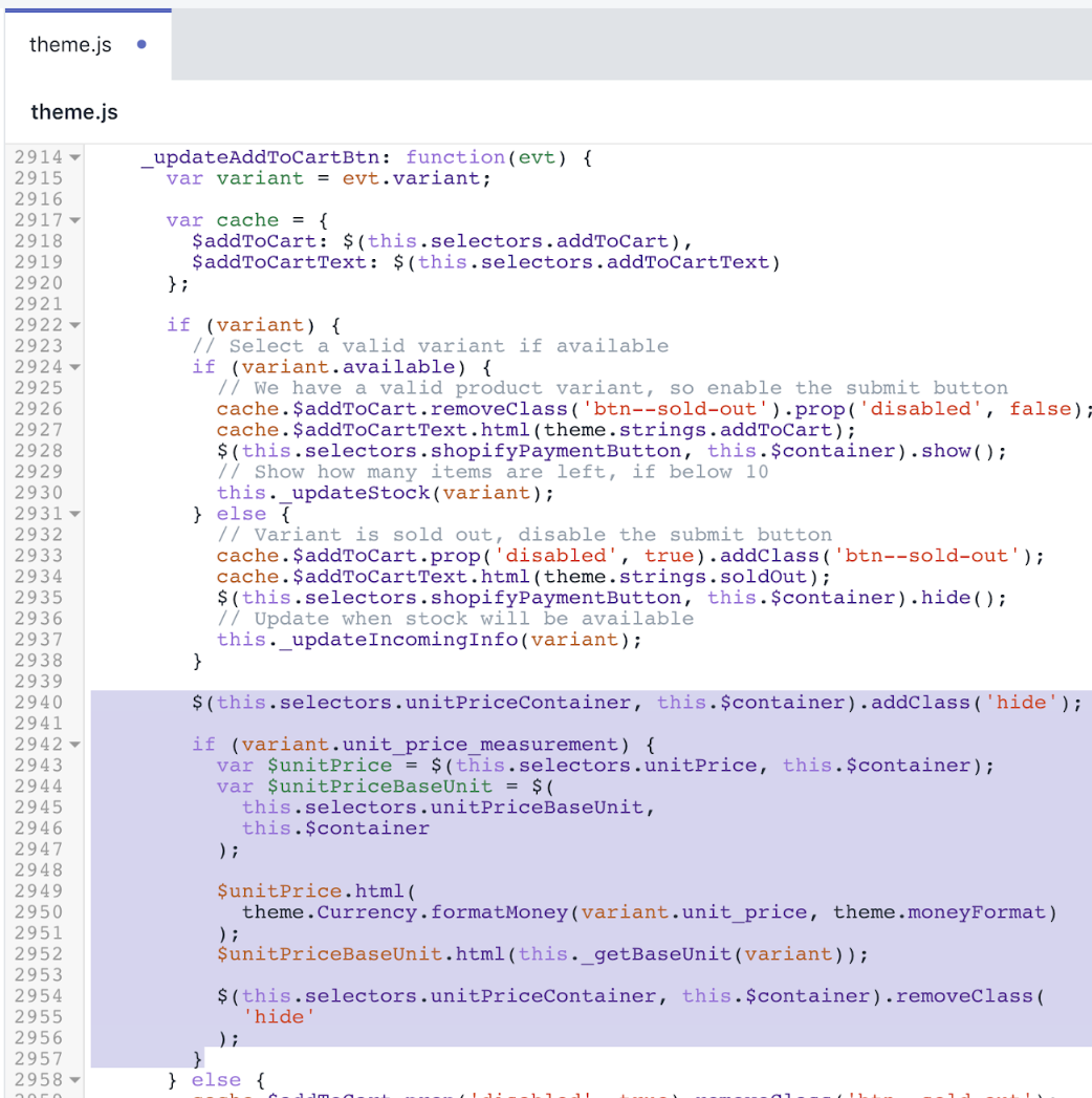 Updated version of theme.js file