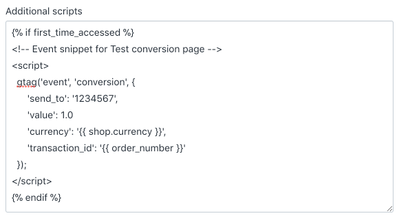 Google Ads conversion tracking event snippet configured