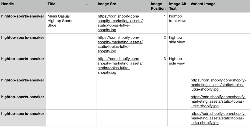 Screenshot of a product that has multiple images and multiple product variants