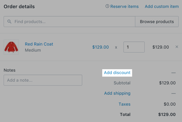 Add discount to entire order