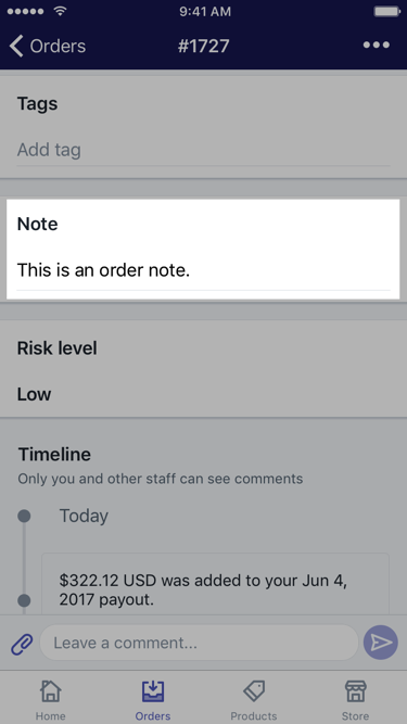 Order details screen with an order note —Shopify app for iOS