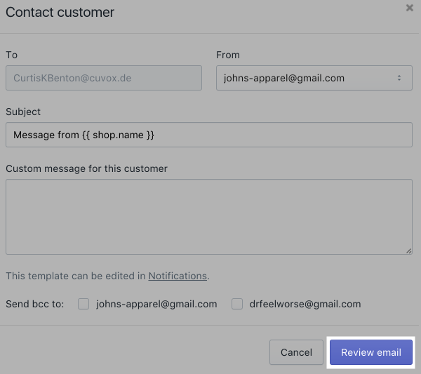 Order - customer email dialog review