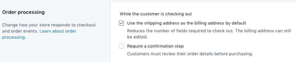 Use the shipping address as the billing address by default checkbox