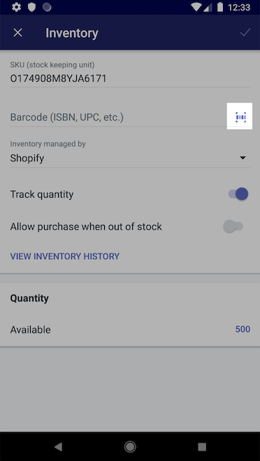 Strekkode-ikon – Shopify for Android