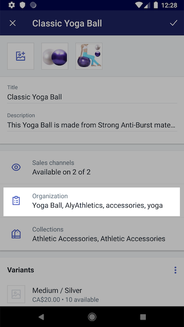 Organization section - Shopify for Android