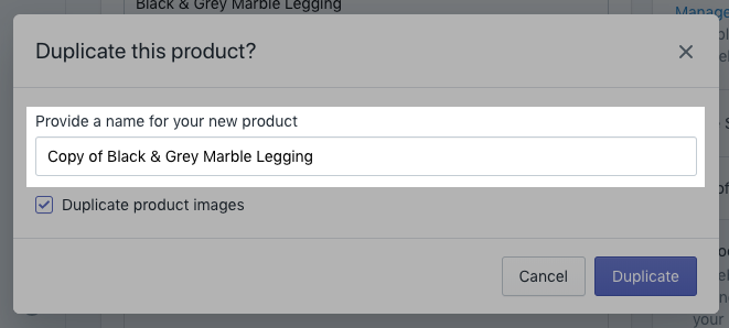 Section to enter a new product name on desktop