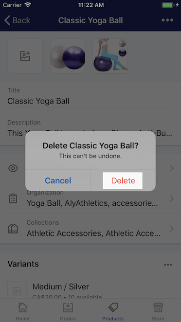 Confirm delete button - Shopify for iPhone