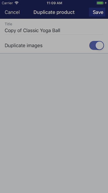 Save button - Shopify for iPhone