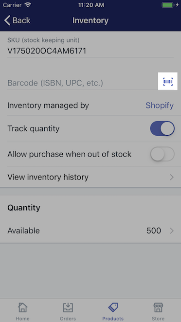 Barcode icon - Shopify for iPhone